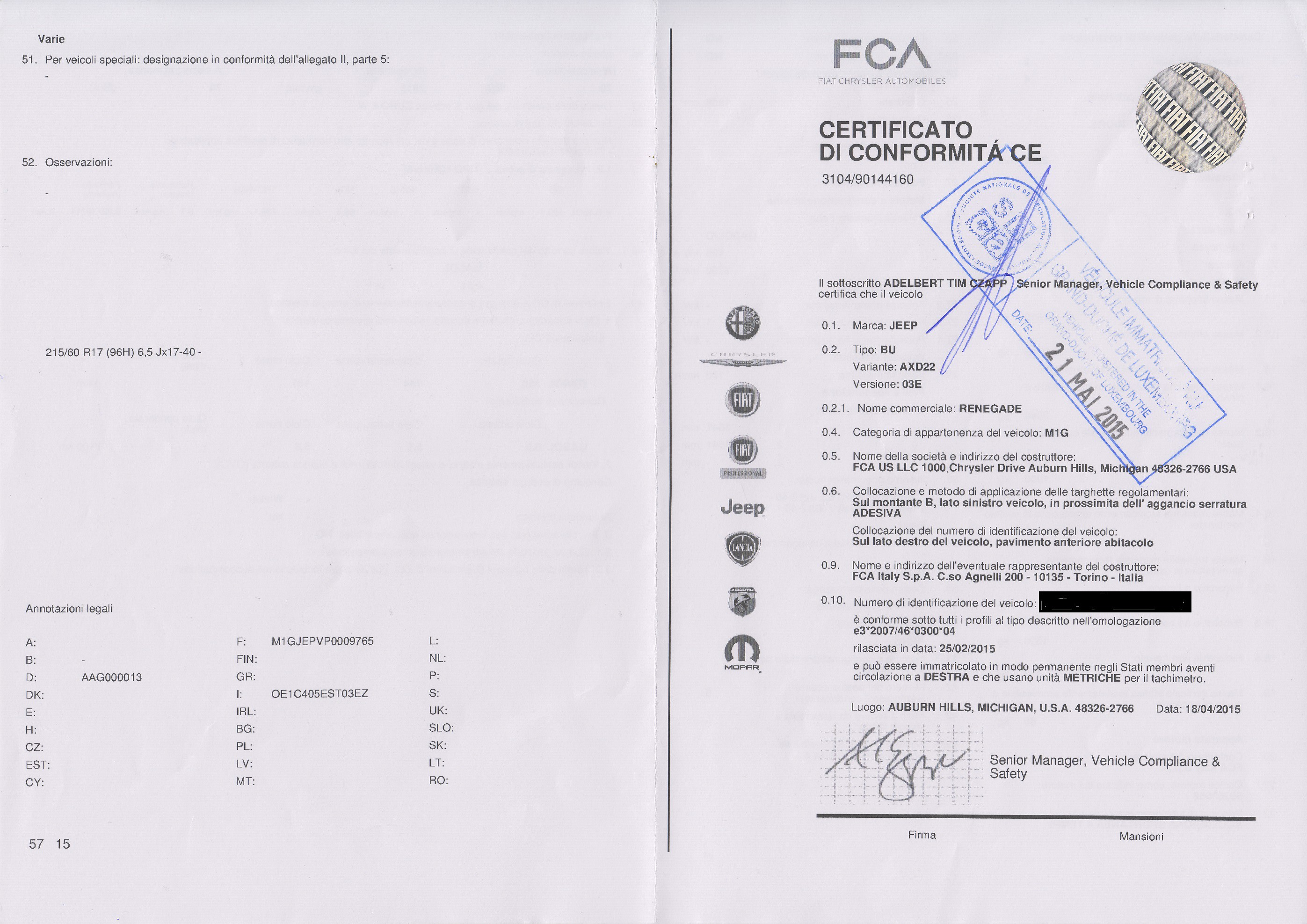 Certificat de conformité gratuit Jeep