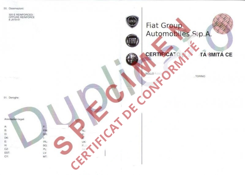 Certificat de conformité gratuit Lancia