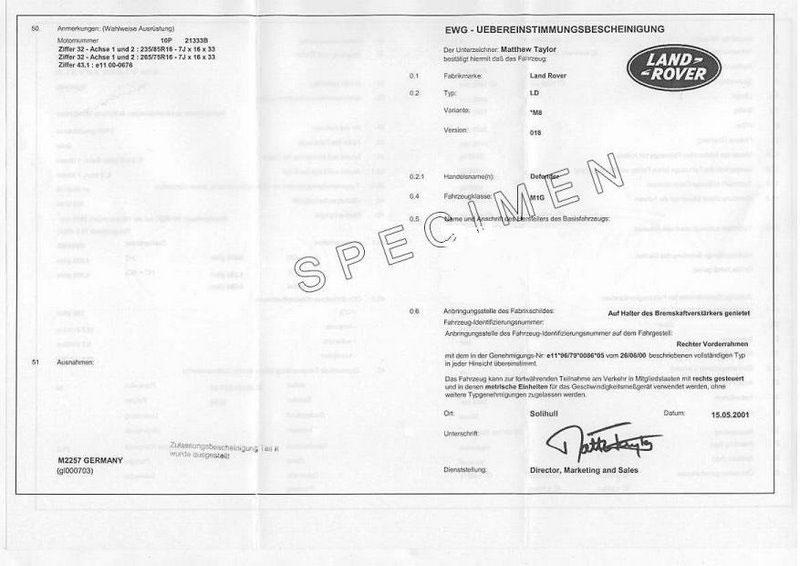 Obtenir le certificat de conformité Land Rover