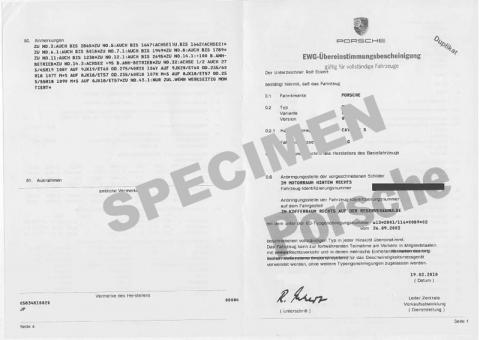 Utilité certificat de conformité Porsche