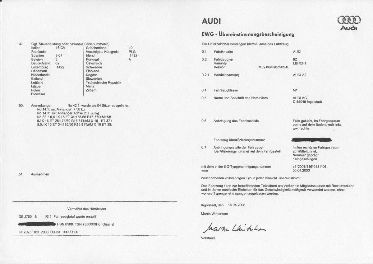 Utilité du certificat de conformité Audi